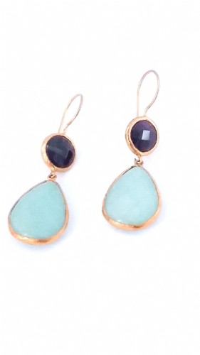 Aqua  Gold Plated Earrings